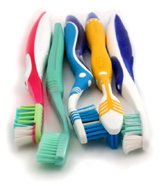 Image of five toothbrushes